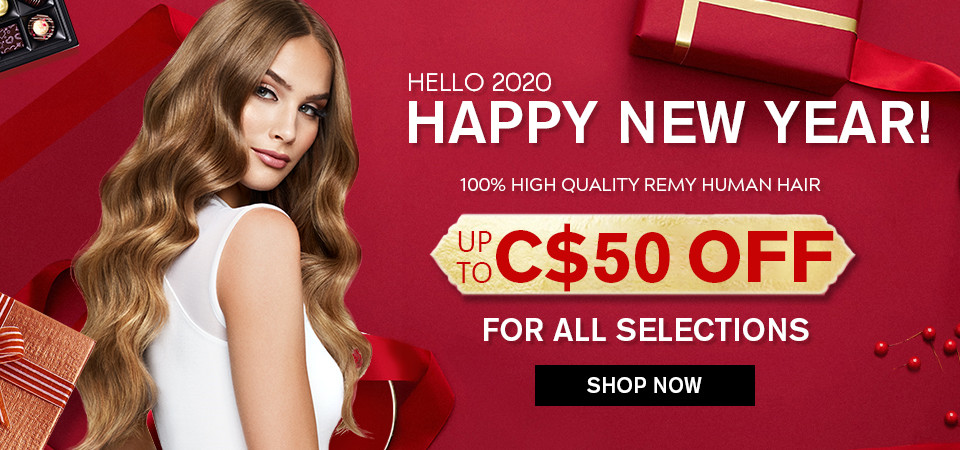 2020 Happy New Year Hair Extensions Sale Canada
